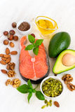 Σύνολο τροφίμων με το υψηλό περιεχόμενο των υγιών λιπών και Omega 3 Στοκ εικόνα με δικαίωμα ελεύθερης χρήσης