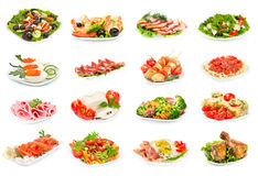 Σύνολο τροφίμων στο πιάτο Στοκ εικόνα με δικαίωμα ελεύθερης χρήσης