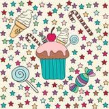 Σύνολο τροφίμων Cupcakes, καραμέλα και παγωτό Στοκ Εικόνες