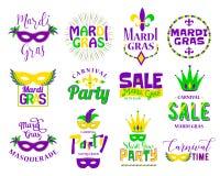 Σύνολο τυπογραφίας εγγραφής της Mardi Gras Εμβλήματα, λογότυπο με το σημάδι κειμένων Στοκ εικόνες με δικαίωμα ελεύθερης χρήσης