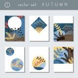 Σύνολο τυποποιημένων φυλλάδιων φθινοπώρου διανυσματική απεικόνιση