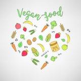 Σύνολο των vegan εικονιδίων τροφίμων fruits vegetables Λεπτά εικονίδια γραμμών Συρμένη χέρι τυπογραφία Στοκ Φωτογραφίες