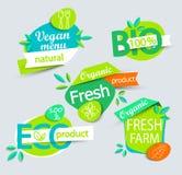 Σύνολο υγιών ετικετών οργανικής τροφής διανυσματική απεικόνιση