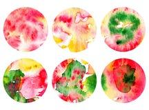 Σύνολο 6 υποβάθρων watercolor σε έναν κύκλο Φυσαλίδες υποβάθρου Διανυσματική απεικόνιση