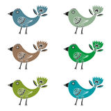 Σύνολο φανταστικών συρμένων χέρι πουλιών με την τουλίπα-όπως ουρά σε ένα άσπρο υπόβαθρο στοκ φωτογραφίες με δικαίωμα ελεύθερης χρήσης