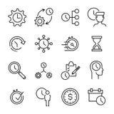 Σύνολο 16 φορά εικονιδίων διοικητικών λεπτών γραμμών Στοκ Εικόνα