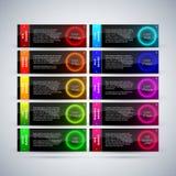 Σύνολο 10 φουτουριστικών ζωηρόχρωμων εμβλημάτων με τους καμμένος κύκλους Στοκ φωτογραφία με δικαίωμα ελεύθερης χρήσης