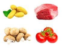 Σύνολο φρέσκιας πλάκας βόειου κρέατος, μανιτάρια κάστανων, νέα στοκ εικόνες