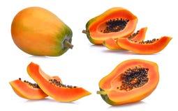 Σύνολο φρέσκο ώριμο papaya που απομονώνεται στο λευκό Στοκ Φωτογραφίες