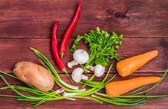 Σύνολο φρέσκων λαχανικών για τη σούπα σε έναν ξύλινο πίνακα Τοπ όψη Κινηματογράφηση σε πρώτο πλάνο Στοκ εικόνες με δικαίωμα ελεύθερης χρήσης