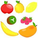 Σύνολο: Φρούτα σε ένα άσπρο υπόβαθρο Στοκ εικόνα με δικαίωμα ελεύθερης χρήσης