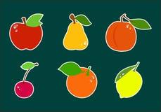 Σύνολο φρούτων εικονιδίων Στοκ εικόνα με δικαίωμα ελεύθερης χρήσης