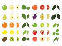 Σύνολο φρούτων και φύλλου στοκ φωτογραφίες