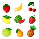 Σύνολο φρούτων χρώματος διανυσματική απεικόνιση