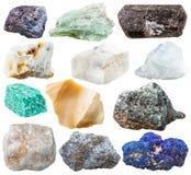 Σύνολο φυσικών βράχων και πετρών που απομονώνονται Στοκ Εικόνες