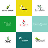 Σύνολο φυσικών και οργανικών προτύπων λογότυπων προϊόντων και του ολοκληρωμένου κυκλώματος διανυσματική απεικόνιση