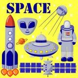 Σύνολο φωτεινών έγχρωμων εικονογραφήσεων στο θέμα του διαστήματος Αστρονομικά σύμβολα: αστροναύτης, UFO, πύραυλος, δορυφόρος ελεύθερη απεικόνιση δικαιώματος