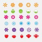Σύνολο φωτεινών αυτοκόλλητων ετικεττών λουλουδιών Στοκ Φωτογραφίες