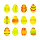 Σύνολο φωτεινών ζωηρόχρωμων αυγών Πάσχας στο άσπρο υπόβαθρο Απεικόνιση αποθεμάτων