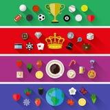 Σύνολο φύσης, αθλητισμού, τροφίμων και εννοιών ποτών Επίπεδο σχέδιο Στοκ Φωτογραφία