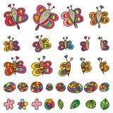 Σύνολο φύλλων λουλουδιών σαλιγκαριών μελισσών πεταλούδων λιβελλουλών διανυσματική απεικόνιση