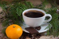 Σύνολο φλυτζανιών του καφέ με τους κλάδους του χριστουγεννιάτικου δέντρου στο α Στοκ φωτογραφία με δικαίωμα ελεύθερης χρήσης