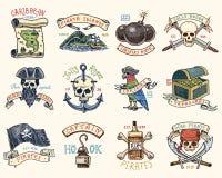 Σύνολο χαραγμένος, χέρι που σύρονται, παλαιό, ετικέτες ή διακριτικά για τους πειρατές, κρανίο στην άγκυρα, χάρτης στο θησαυρό, μα απεικόνιση αποθεμάτων