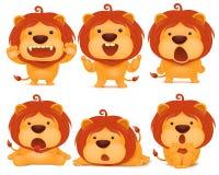 Σύνολο χαρακτήρα κινουμένων σχεδίων γατών λιονταριών emoji Στοκ Εικόνα
