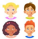 Σύνολο χαρακτήρα κοριτσιών και αγοριών διανυσματική απεικόνιση