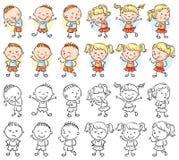 Σύνολο χαρακτήρων αγοριών και κοριτσιών με τις διαφορετικές συγκινήσεις διανυσματική απεικόνιση