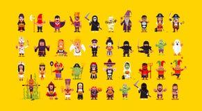Σύνολο χαρακτήρων για αποκριές σε ένα επίπεδο ύφος απεικόνιση αποθεμάτων