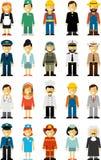 Σύνολο χαρακτήρων επαγγέλματος ανθρώπων στο επίπεδο ύφος που απομονώνεται στο άσπρο υπόβαθρο Στοκ Εικόνα