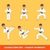 Σύνολο χαρακτήρων ι αγοριών karatee ελεύθερη απεικόνιση δικαιώματος