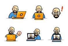 Σύνολο χαρακτήρων κινούμενων σχεδίων geek απεικόνιση αποθεμάτων