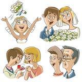 Σύνολο χαρακτήρων στο γαμήλιο θέμα διανυσματική απεικόνιση