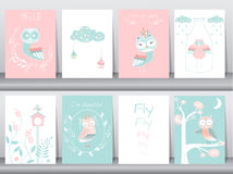 Σύνολο χαριτωμένης αφίσας ζώων, πρότυπο, κάρτες, κουκουβάγιες, boho, διανυσματικές απεικονίσεις Στοκ φωτογραφίες με δικαίωμα ελεύθερης χρήσης