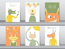 Σύνολο χαριτωμένης αφίσας τεράτων, πρότυπο, κάρτες, κόμμα, διανυσματικές απεικονίσεις Στοκ Εικόνες
