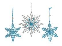 Σύνολο χαριτωμένης διακόσμησης Χριστουγέννων, λαμπρά snowflakes Στοκ Φωτογραφία