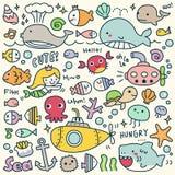 Σύνολο χαριτωμένου κάτω από τη θάλασσα Doodle Στοκ Εικόνα
