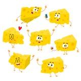 Σύνολο χαριτωμένου και αστείου χαρακτήρα χοντρών κομματιών τυριών που παρουσιάζει διαφορετικές συγκινήσεις Στοκ Εικόνα