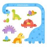 Σύνολο χαριτωμένου dinosaurus για τα παιδιά Ελεύθερη απεικόνιση δικαιώματος