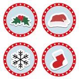 Σύνολο χαριτωμένων αυτοκόλλητων ετικεττών Χριστουγέννων και χειμώνα παιδιών ` s ελεύθερη απεικόνιση δικαιώματος
