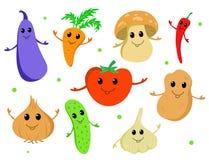 Σύνολο χαριτωμένων λαχανικών κινούμενων σχεδίων Στοκ εικόνα με δικαίωμα ελεύθερης χρήσης