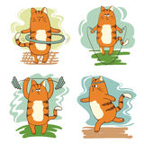 Σύνολο χαριτωμένων γατών κινούμενων σχεδίων που περιλαμβάνονται στον αθλητισμό Στοκ Φωτογραφία