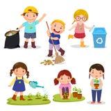 Σύνολο χαριτωμένων εθελοντών παιδιών διανυσματική απεικόνιση