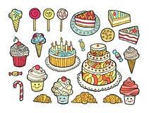 Σύνολο χαριτωμένων ζωηρόχρωμων γλυκών Απεικόνιση αποθεμάτων