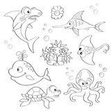 Σύνολο χαριτωμένων ζώων θάλασσας κινούμενων σχεδίων διανυσματική απεικόνιση
