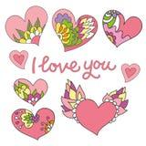 Σύνολο 8 χαριτωμένων καρδιών doodle Στοκ εικόνες με δικαίωμα ελεύθερης χρήσης