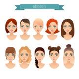 Σύνολο χαριτωμένων κοριτσιών με τα διαφορετικά hairstyles Στοκ Εικόνες