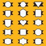 Σύνολο χαριτωμένων κορδέλλας και ετικετών στη γεωμετρική μορφή απεικόνιση αποθεμάτων